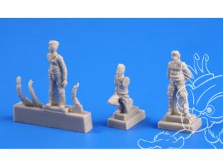 Cmk figurine F72247 Pilote tchécoslovaque (1 figurine) Et mécanicien (2 figurines) 1/72
