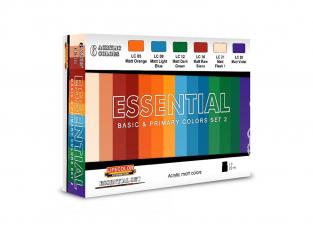 Lifecolor set de peintures ES02 couleurs basique et primaires set 2 6 pots de 22ml