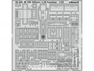 Eduard photodecoupe militaire 36442 Amélioration M108 105mm / L30 Howitzer AFV Club 1/35