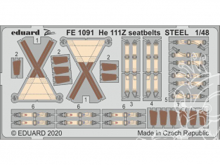 EDUARD photodecoupe avion FE1091 Harnais métal Heinkel He 111Z Icm 1/48