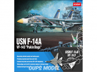 "Academy maquette avion 12563 USN F-14A VF-143 ""Pukin Dogs"" 1/72"