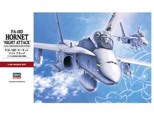 "HASEGAWA maquette avion 07203 McDonnell Douglas F/A-18D Hornet ""Night Attack"" 1/48"