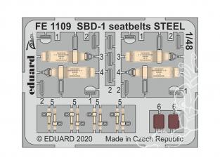 EDUARD photodecoupe avion FE1109 Harnais métal SBD-1 Academy 1/48