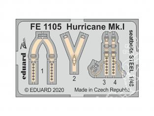 EDUARD photodecoupe avion FE1105 Harnais métal Hurricane Mk.I Airfix 1/48