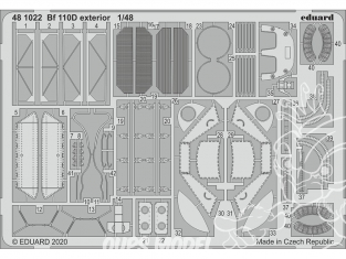 EDUARD photodecoupe avion 481022 Extérieur Messerschmitt Bf 110D Dragon 1/48