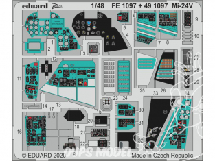 EDUARD photodecoupe hélicoptère 491097 Intérieur Mi-24 Zvezda 1/48