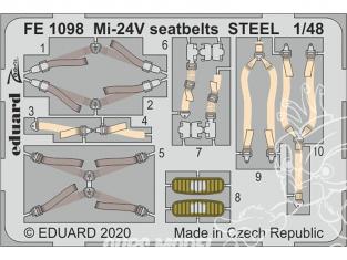 EDUARD photodecoupe hélicoptère FE1098 Harnais métal Mi-24 Zvezda 1/48