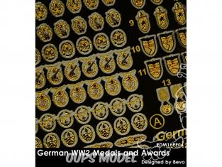 Rado miniatures figurines photodécoupe RDM35PE04 Medailles et récompenses Allemandes WWII 1/35