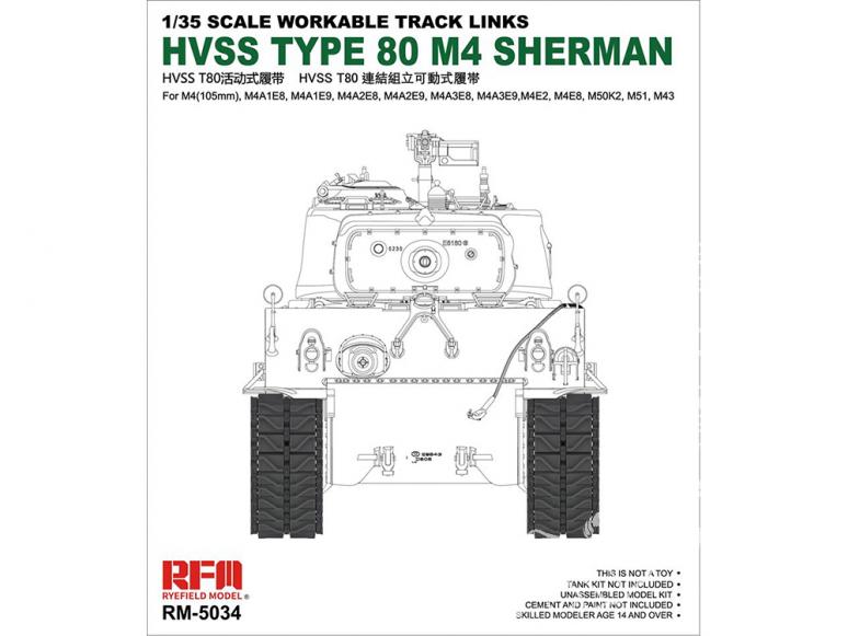 Rye Field Model maquette militaire 5034 Chenilles HVSS Type 80 M4 Sherman (Chenilles maillon par maillon) 1/35