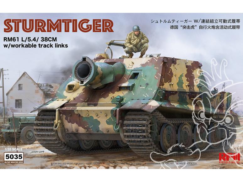 Rye Field Model maquette militaire 5035 Sturmtiger RM61 L/5.4/ 38cm avec chenilles maillon par maillon 1/35