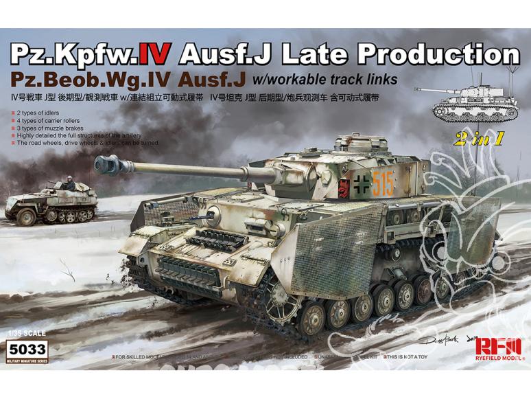 Rye Field Model maquette militaire 5033 Pz.Kpfw.IV Ausf.J Fin de production avec chenilles maillon par maillon 1/35