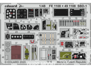 EDUARD photodecoupe avion FE1108 Zoom amélioration SBD-1 Academy 1/48