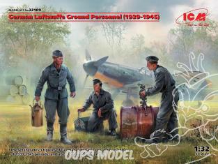 Icm maquette avion 32109 Personnel au sol de la Luftwaffe allemande 1939-1945 WWII 3 personnages 100% nouveaux moules 1/32
