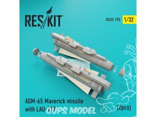 ResKit kit d'amelioration Avion RS32-0192 AGM-65 Maverick missile avec LAU-117 (2 pièces) 1/32