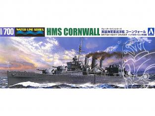 Aoshima maquette bateau 56721 HMS Cornwall Croiseur lourd Britannique Water Line Series 1/700