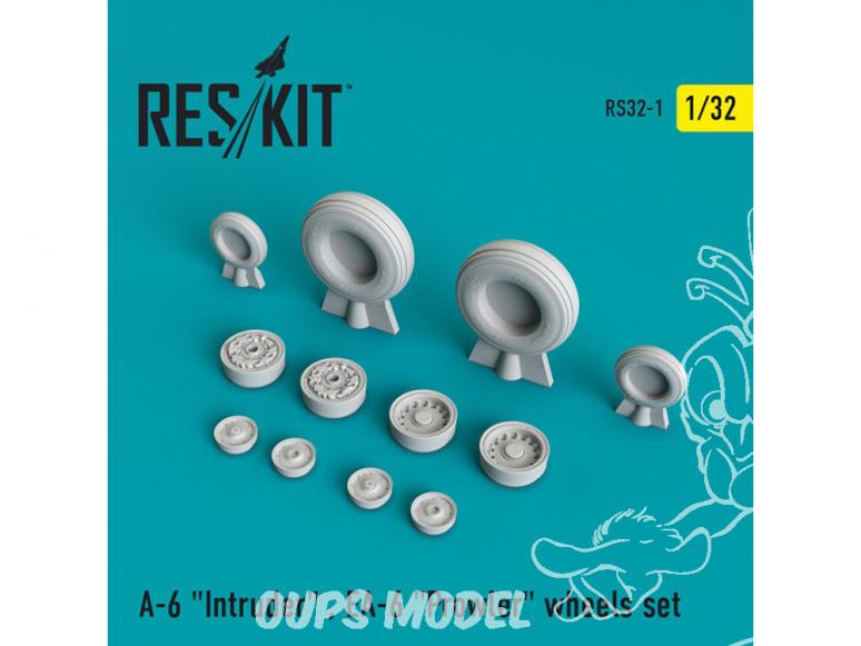 """ResKit kit d'amelioration Avion RS32-0001 Ensemble de roues resine A-6 """"Intruder"""" EA-6 """"Prowler"""" 1/32"""