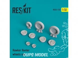 ResKit kit d'amelioration Avion RS32-0115 Ensemble de roues resine Hawker Hunter 1/32