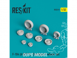 "ResKit kit d'amelioration Avion RS32-0008 Ensemble de roues resine F-104 (A/B/C/D) ""Starfighter"" 1/32"
