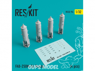 ResKit kit d'amelioration Avion RS32-0094 FAB-250М-54 Bombes (4 pièces) 1/32