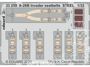 Eduard photodécoupe avion 33259 Harnais métal A-26B Invader Hobby Boss 1/32