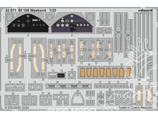 Eduard photodécoupe avion 32971 Amélioration Messerschmitt Bf 108 WeekEnd Eduard 1/32