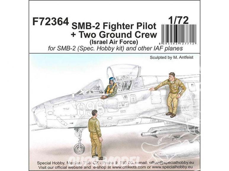 Cmk figurine F72364 Pilote de chasse SMB-2 + deux membres d'équipage au sol (Force aérienne israélienne) 1/72