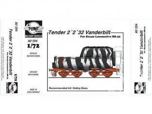 Planet Maquettes Militaire mv094 Tender 2¨2¨32 Vanderbilt pour locommotive BR.52 full resine kit 1/72