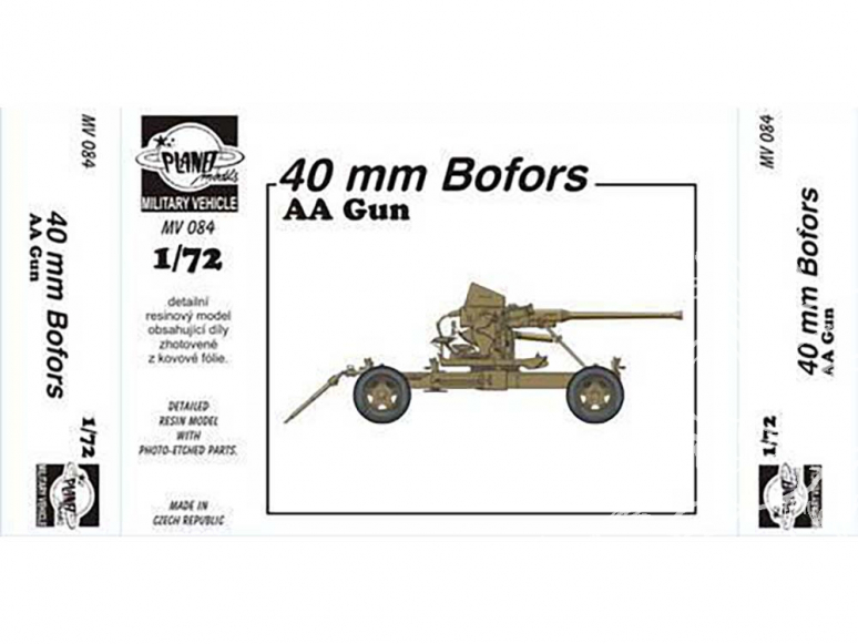 Planet Maquettes Militaire mv084 Canon AA BOFORS 40 mm full resine kit 1/72