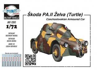 """Planet Maquettes Militaire mv090 Škoda PA.II """"Turtle"""" blindé tchécoslovaque full resine kit 1/72"""