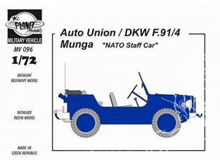 Planet Maquettes Militaire mv096 Auto-Union/DKW F91/4 Munga Nato Staff Car full resine kit 1/72
