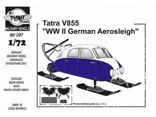 Planet Maquettes Militaire mv097 Traîneau Aero Allemand Tatra V855 WWII full resine kit 1/72