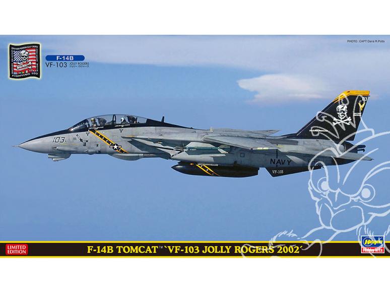 """Hasegawa maquette avion 52254 F-14B Tomcat """"VF-103 Jolly Rogers 2002"""" 1/72"""