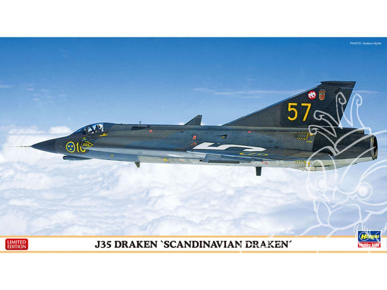 Hasegawa maquette avion 02330 J35 Draken «Scandinavian Draken» 1/72