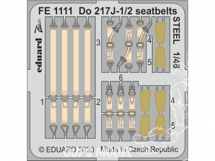 EDUARD photodecoupe avion FE1111 Harnais métal Dornier Do 217J-1/2 Icm 1/48