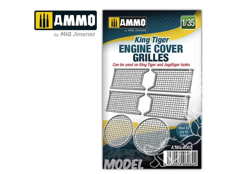 Ammo Mig accessoire 8082 Grilles moteur King Tiger 1/35