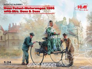 Icm maquette voiture 24041 Benz Patent-Motorwagen 1886 avec Mme Benz & Sons (100% nouveaux moules) 1/24