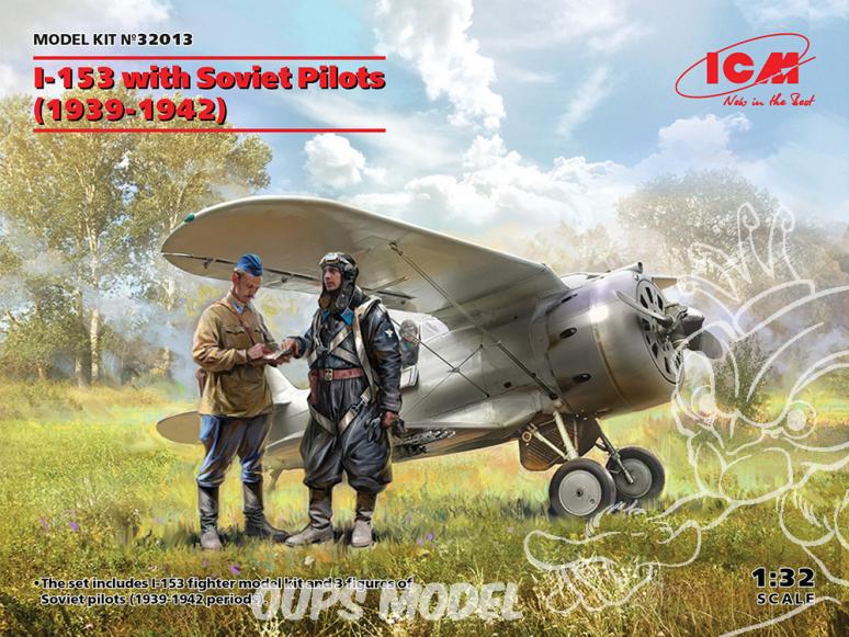Icm maquette avion 32013 I-153 avec des pilotes soviétiques (1939-1942) WWII 1/32