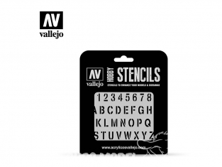 Vallejo Stencils ST-LET002 Pochoir Alphabet d'estampage 1/35