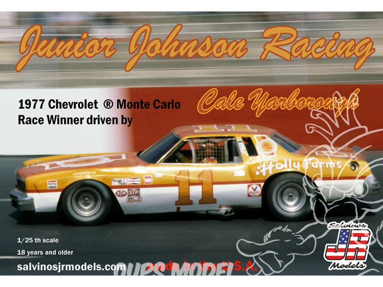 JR Models maquette voiture 1977NW Junior Johnson Racing 1977 Chevrolet ® Monte Carlo driven by Cale Yarborough 1/25