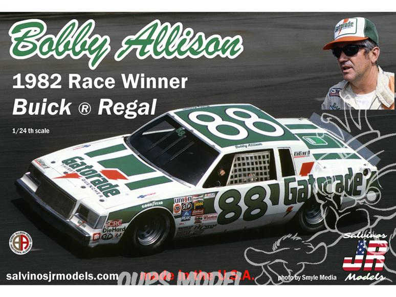 JR Models maquette voiture 1981D Bobby Allison 1982 Race Winner Buick®Regal 1/24
