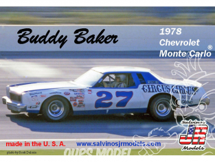 JR Models maquette voiture 1978O Buddy Baker 1978 Chevrolet ® Monte Carlo 1/25