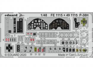 EDUARD photodecoupe avion 491115 Amélioration Lockheed P-38H Lightning Tamiya 1/48