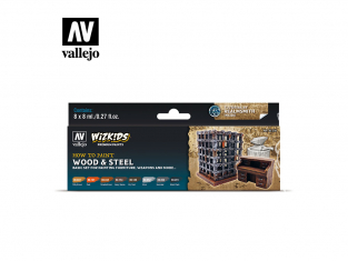 Vallejo Set Wizkids 80256 Wood & Steel 8x8ml