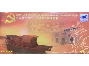 BRONCO maquette bateau PB5001 bateau rouge du lac sud du premier congrès national du CPC 1/50