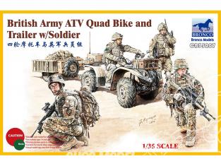 Bronco maquette militaire CB35207 Quad et remorque avec quatre soldats Britanniques 1/35