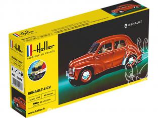 HELLER maquette voiture 56174 nouvelle boite Renault 4CV inclus peintures principale colle et pinceau 1/43