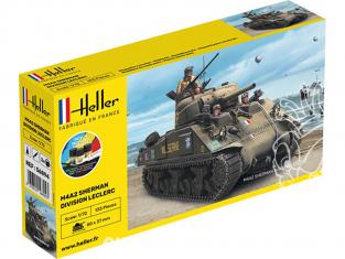 Heller maquette militaire vehicule 56894 Starter Set M4A2 SHERMAN DIVISION LECLERC 1/72