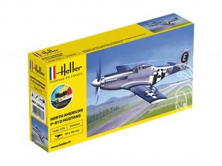 HELLER maquette avion 56268 Starter Kit P-51 Mustang inclus peintures principale colle et pinceau 1/72
