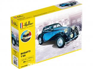 HELLER maquette voiture 56706 Starter Kit Coffret BUGATTI T.50 1/24