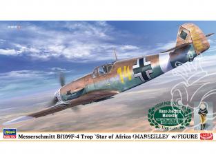 Hasegawa maquette avion 07491 Messerschmitt Bf109F-4 Trop «African Star (Marseille)» avec figurine 1/48